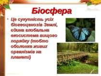 Біосфера Це сукупність усіх біогеоценозів Землі, єдина глобальна екосистема в...