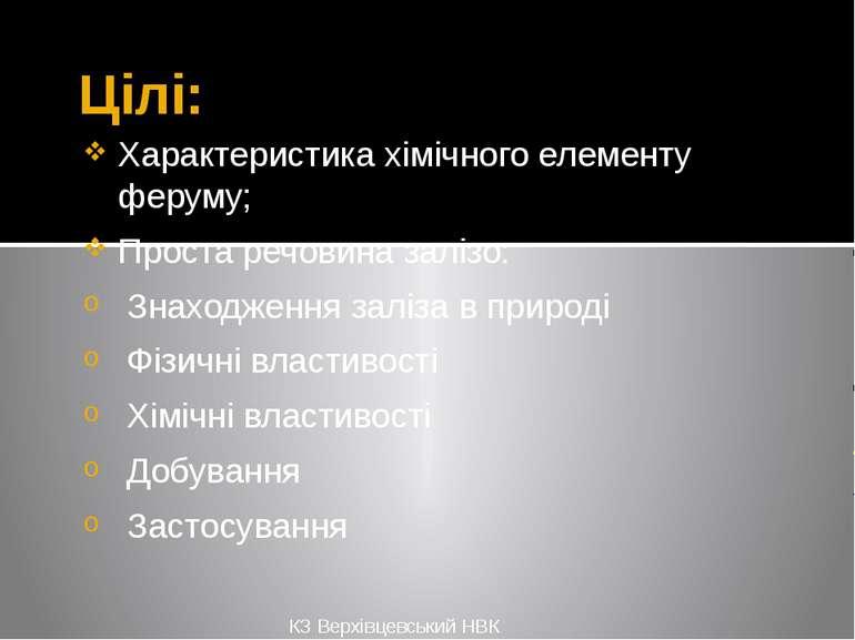 Цілі: Характеристика хімічного елементу феруму; Проста речовина залізо: Знахо...