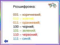 Розшифровка:000 – білий;001 – коричневий;010 – жовтий;011 – оранжевий;100 – ч...