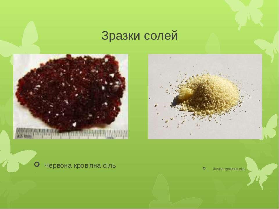 Зразки солей Червона кров'яна сіль Жовта кров'яна сіль