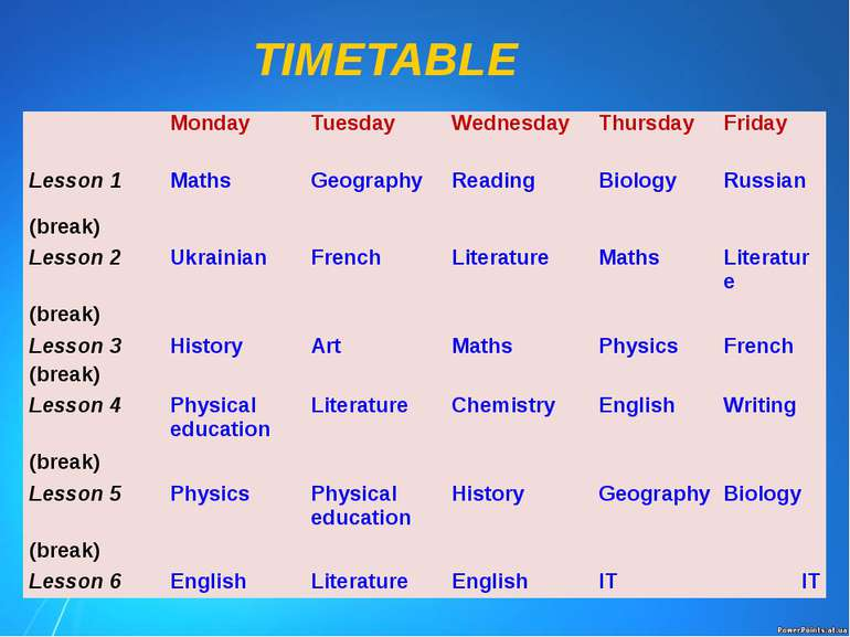 TIMETABLE Monday Tuesday Wednesday Thursday Friday Lesson 1 Maths Geography R...
