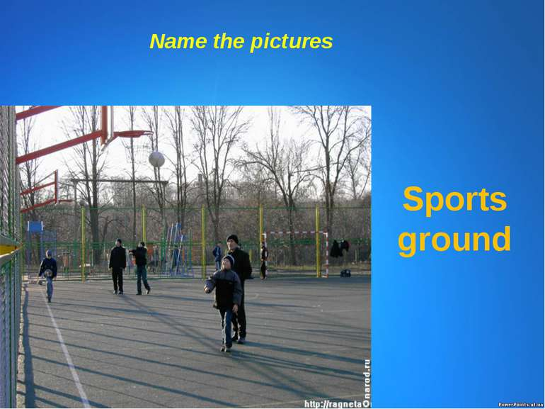 Name the pictures Sports ground