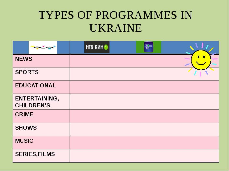 TYPES OF PROGRAMMES IN UKRAINE NEWS SPORTS EDUCATIONAL ENTERTAINING, CHILDREN...