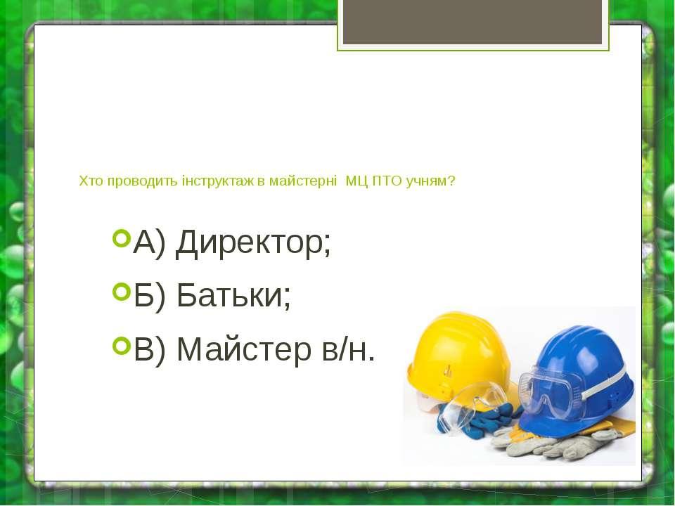 Хто проводить інструктаж в майстерні МЦ ПТО учням? А) Директор; Б) Батьки; В)...