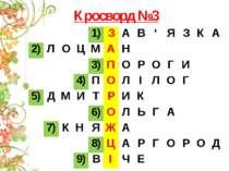 Кросворд №3 1) З А В ' Я З К А 2) Л О Ц М А Н 3) П О Р О Г И 4) П О Л І Л О Г...