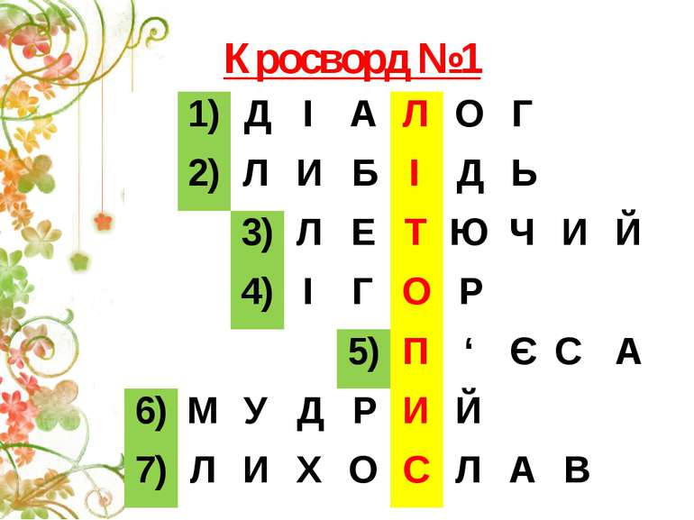 Кросворд №1 1) Д І А Л О Г 2) Л И Б І Д Ь 3) Л Е Т Ю Ч И Й 4) І Г О Р 5) П ' ...