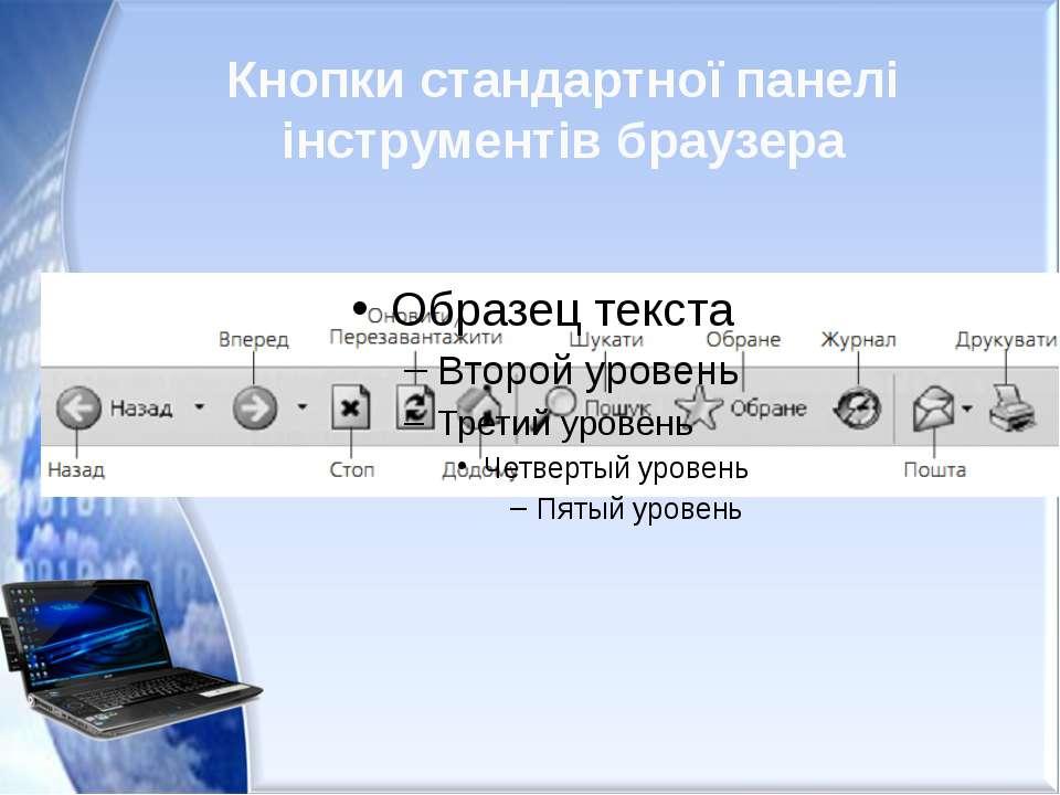 Кнопки стандартної панелі інструментів браузера