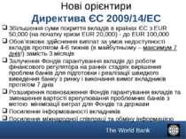 Нові орієнтири Директива ЄС 2009/14/EC Збільшення суми покриття вкладів в кра...