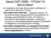 Криза 2007-2009 – УРОКИ ТА ВИСНОВКИ Усі елементи системи фінансової стабільно...