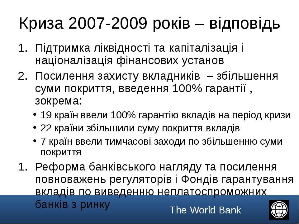 Криза 2007-2009 років – відповідь Підтримка ліквідності та капіталізація і на...
