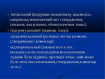 ініціальний (відкриває мовленнєву взаємодію, наприклад мовленнєвий акт стверд...