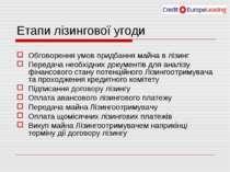 Етапи лізингової угоди Обговорення умов придбання майна в лізинг Передача нео...