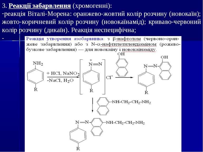 3. Реакції забарвлення (хромогенні): реакція Віталі-Морена: оранжево-жовтий к...