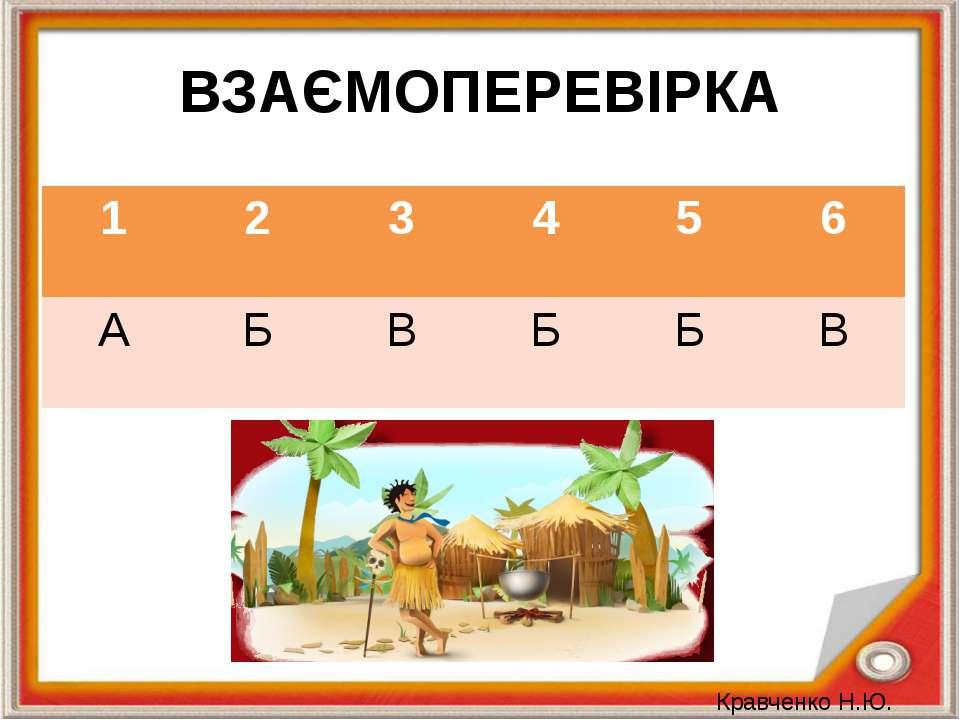 ВЗАЄМОПЕРЕВІРКА Кравченко Н.Ю. 1 2 3 4 5 6 А Б В Б Б В