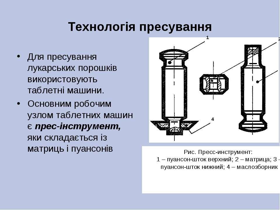 Технологія пресування Для пресування лукарських порошків використовують табле...
