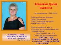 Ткаченко Ірина Іванівна Дата народження : 17.02.1968р. Навчальний заклад: Дон...