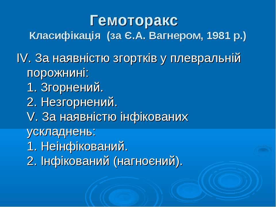 Гемоторакс Класифiкацiя (за Є.А. Вагнером, 1981 р.) IV. За наявнiстю згортк...