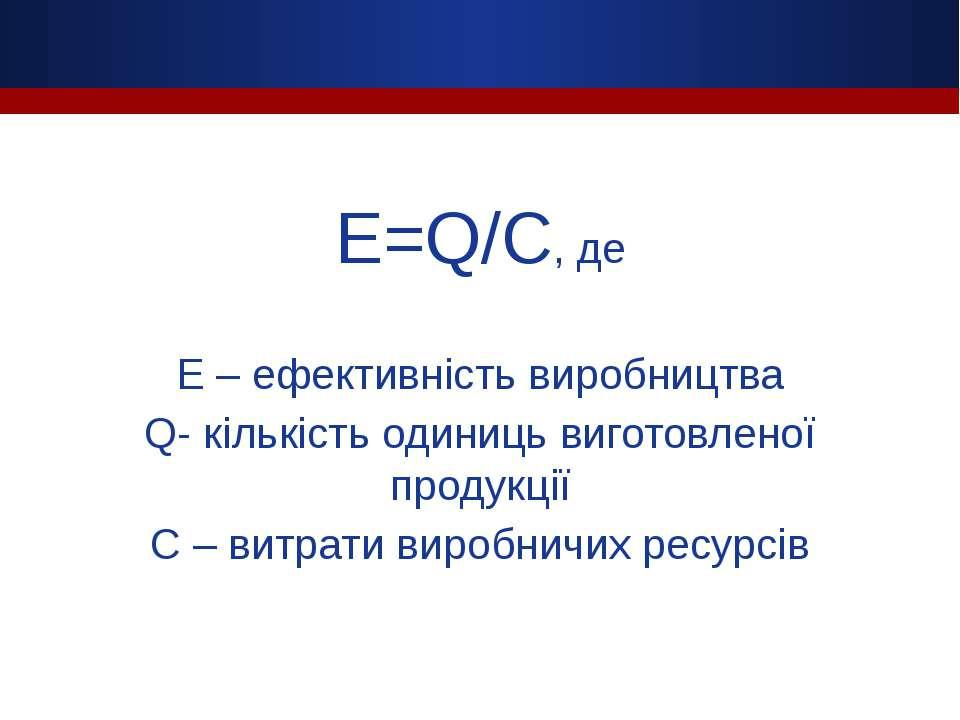E=Q/C, де E – ефективність виробництва Q- кількість одиниць виготовленої прод...
