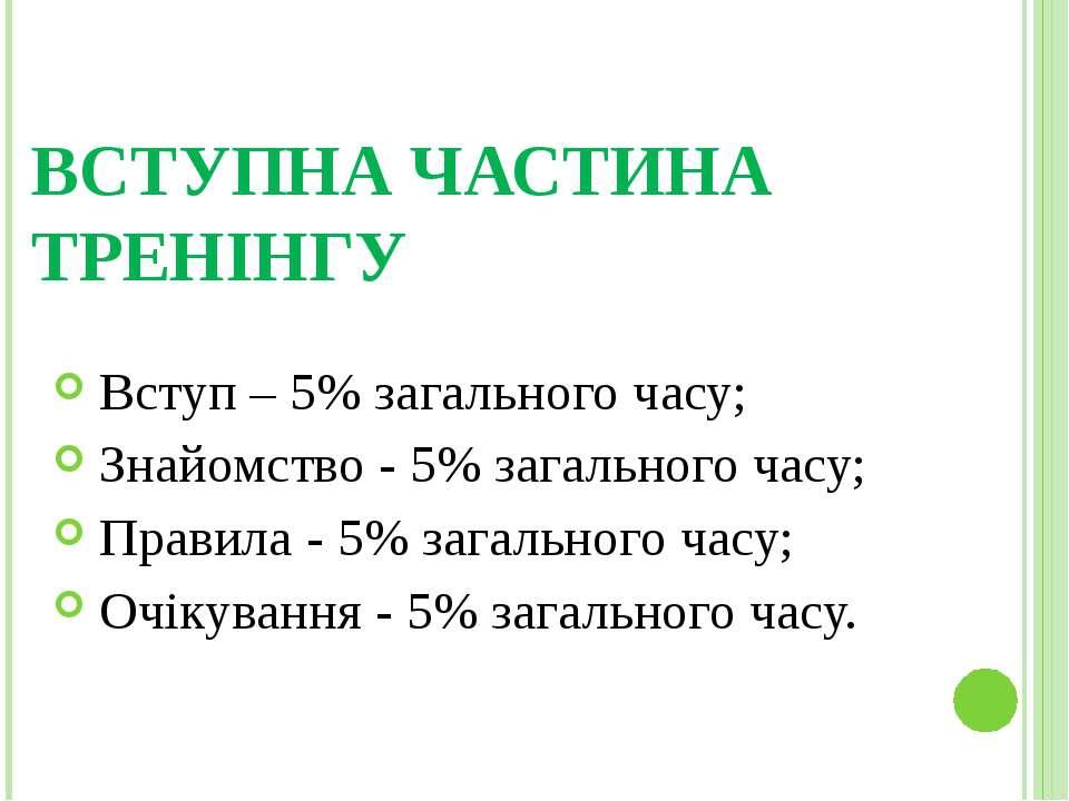 ВСТУПНА ЧАСТИНА ТРЕНІНГУ Вступ – 5% загального часу; Знайомство - 5% загально...