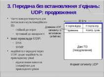3. Передача без встановлення з'єднань: UDP: продовження Часто використовуєтьс...