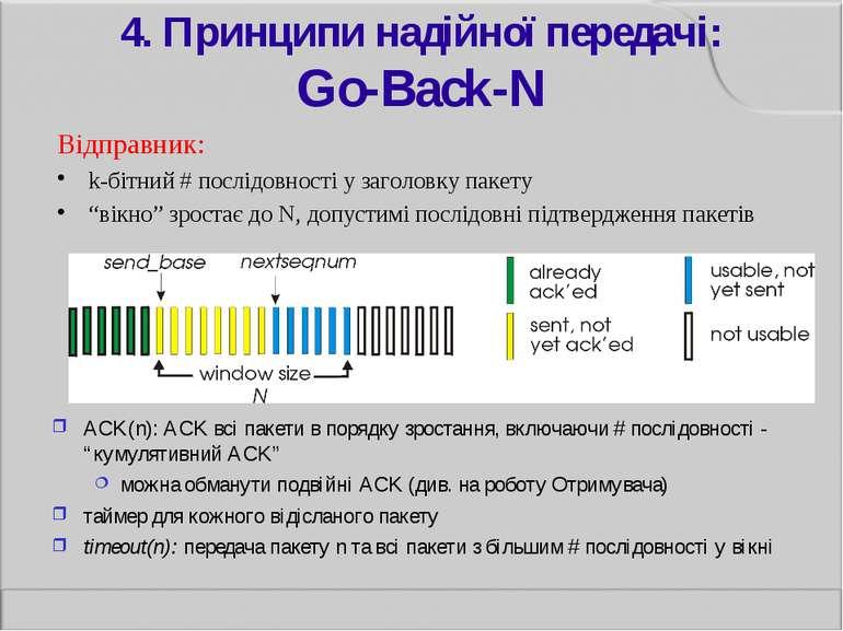 4. Принципи надійної передачі: Go-Back-N Відправник: k-бітний # послідовності...