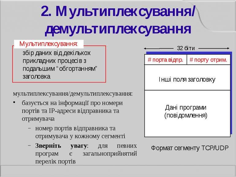 2. Мультиплексування/ демультиплексування мультиплексування/демультиплексуван...