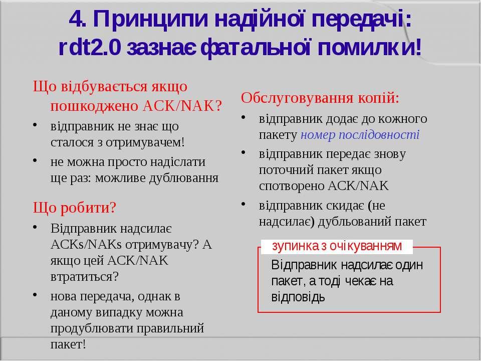 4. Принципи надійної передачі: rdt2.0 зазнає фатальної помилки! Що відбуваєть...