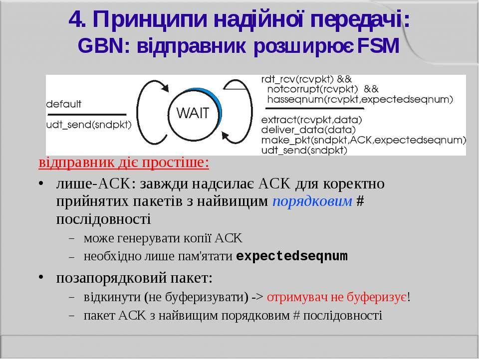 4. Принципи надійної передачі: GBN: відправник розширює FSM відправник діє пр...
