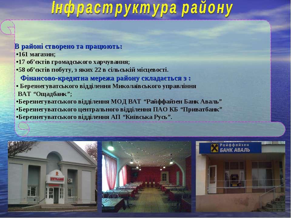 В районі створено та працюють: •161 магазин; •17 об'єктів громадського харчув...