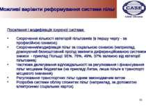 Можливі варіанти реформування системи пільг Посилення і модифікація існуючої ...