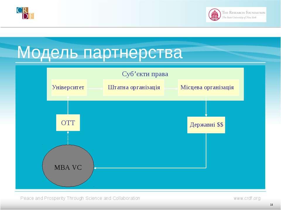 Модель партнерства Університет Штатна організація Місцева організація Державн...