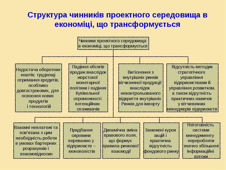 Структура чинників проектного середовища в економіці, що трансформується Чинн...