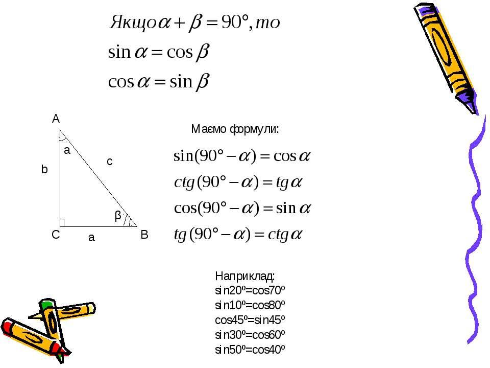 Наприклад: sin20º=cos70º sin10º=cos80º cos45º=sin45º sin30º=cos60º sin50º=cos...
