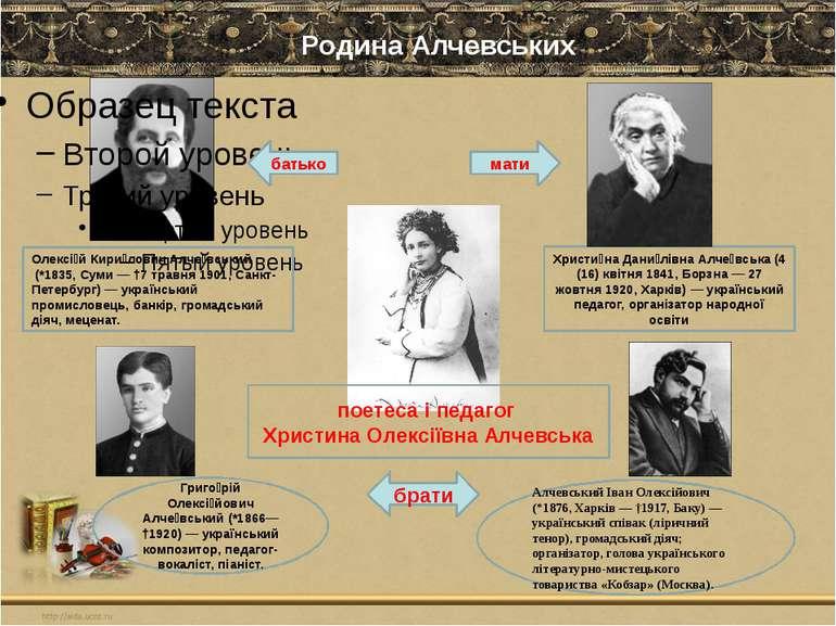 Родина Алчевських Олексі й Кири лович Алче вський (*1835, Суми — †7 травня 19...