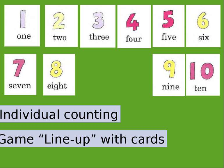 "Individual counting Game ""Line-up"" with cards"