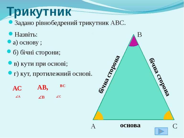 Задано рівнобедрений трикутник АВС. Назвіть: Трикутник г) кут, протилежний ос...