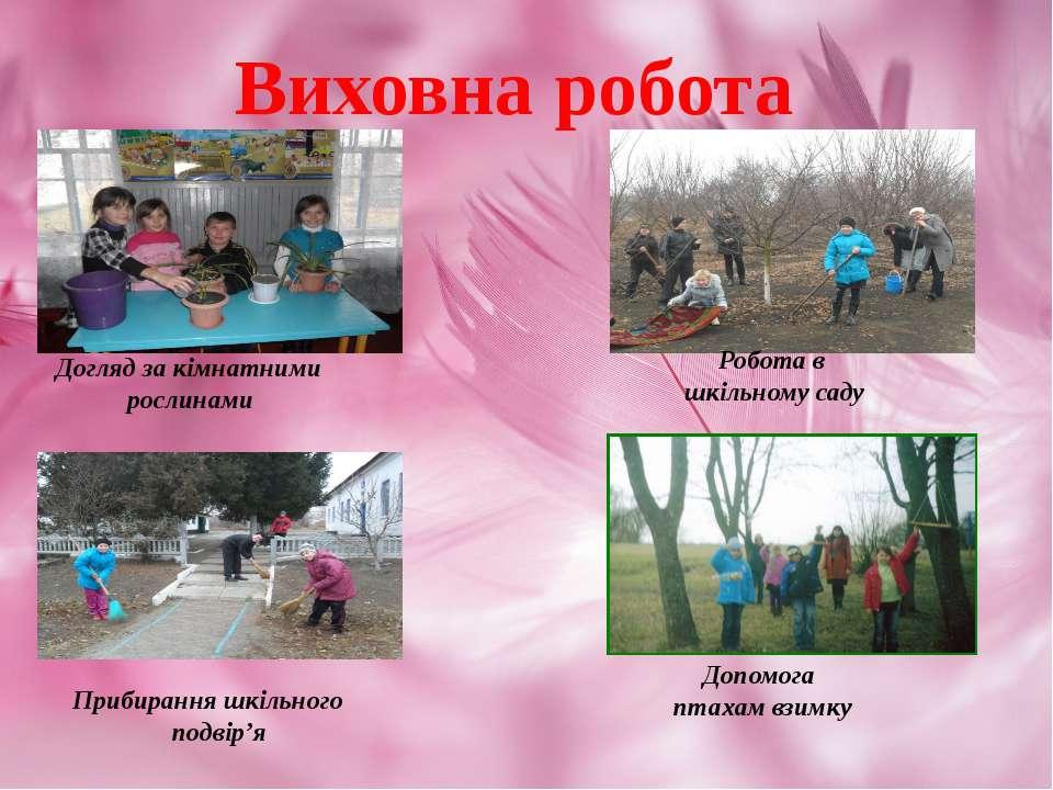 Виховна робота Догляд за кімнатними рослинами Робота в шкільному саду Прибира...