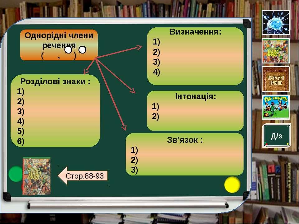 Д/з Однорідні члени речення ( , ) Визначення: 1) 2) 3) 4) Інтонація: 1) 2) Зв...