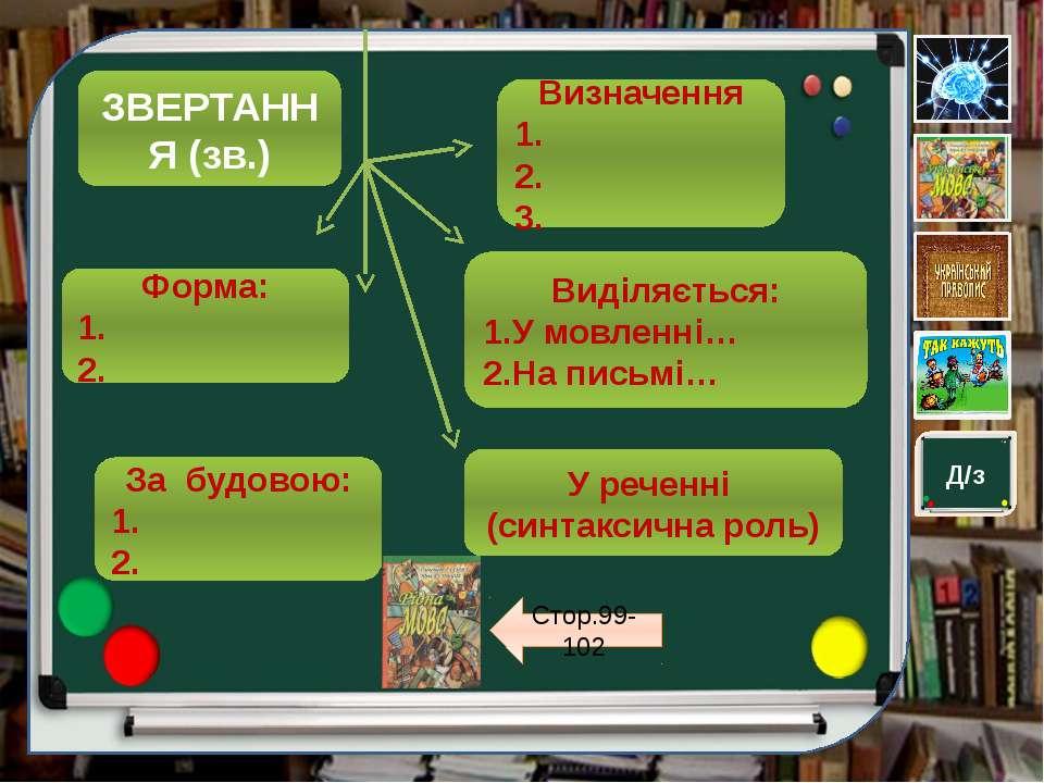 ЗВЕРТАННЯ (зв.) Визначення 1. 2. 3. Форма: 1. 2. У реченні (синтаксична роль)...