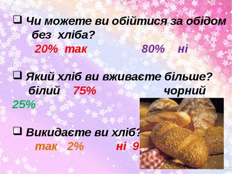Чи можете ви обійтися за обідом без хліба? 20% так 80% ні Який хліб ви вживає...