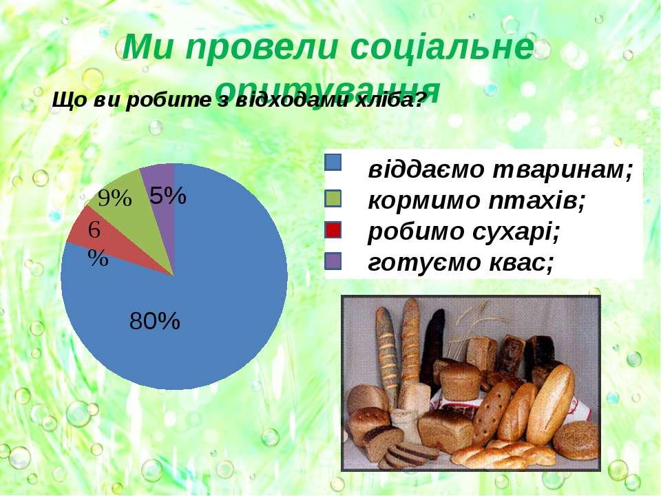 Ми провели соціальне опитування Що ви робите з відходами хліба? віддаємо твар...