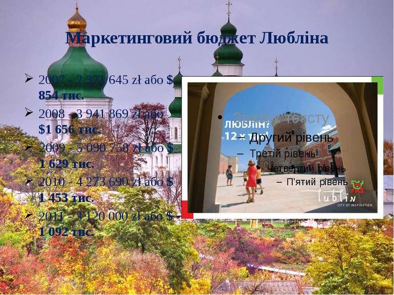 Маркетинговий бюджет Любліна 2007 - 2 371 645 zł або $ 854 тис. 2008 - 3 941 ...