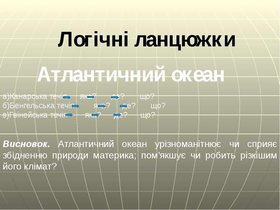 Логічні ланцюжки а)Канарська течія яка? де? що? б)Бенгельська течія яка? де? ...