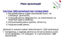 Система ТДМ організації має чотири рівні: Місцевий рівень (один населений пун...