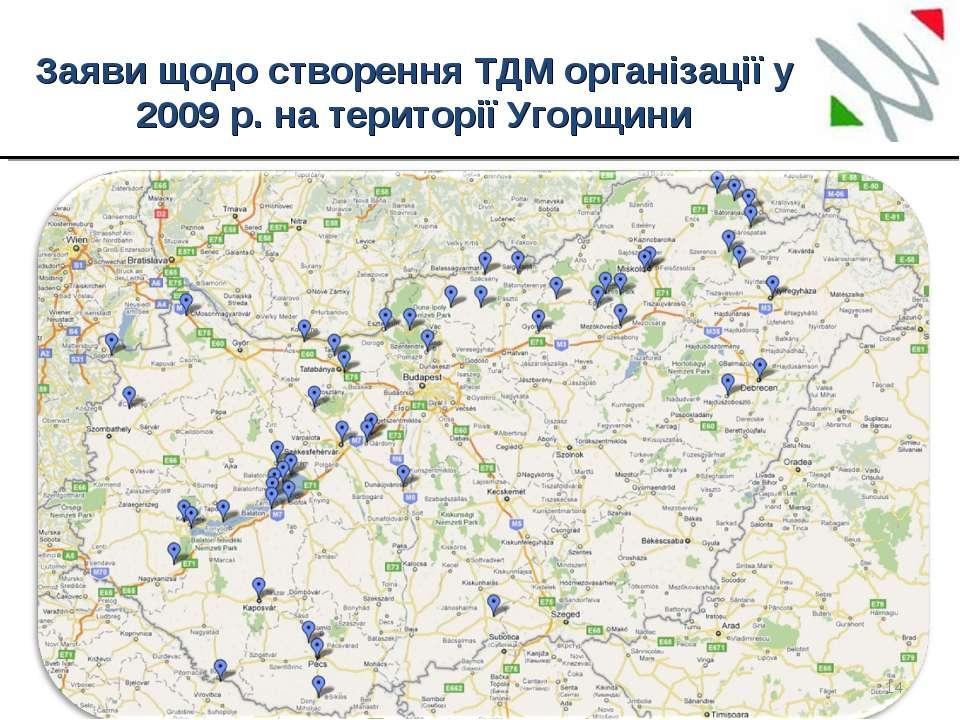 Заяви щодо створення ТДМ організації у 2009 р. на території Угорщини *