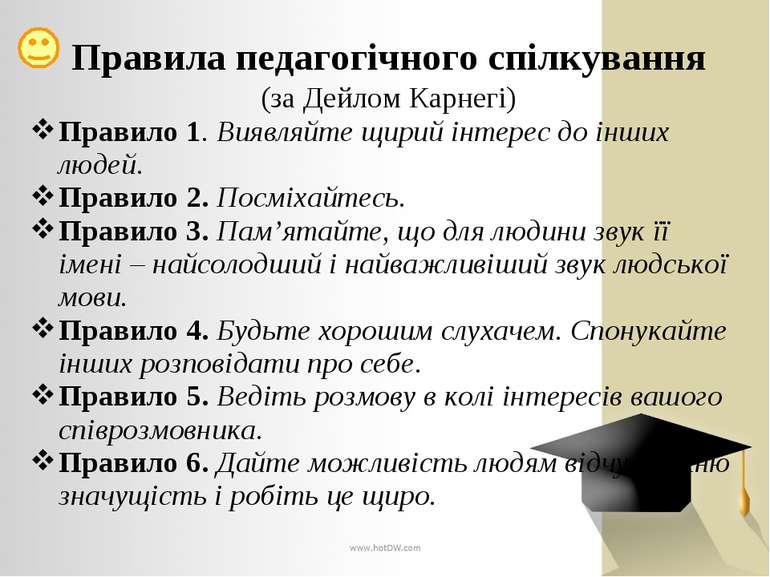 Правила педагогічного спілкування (за Дейлом Карнегі) Правило 1. Виявляйте щи...