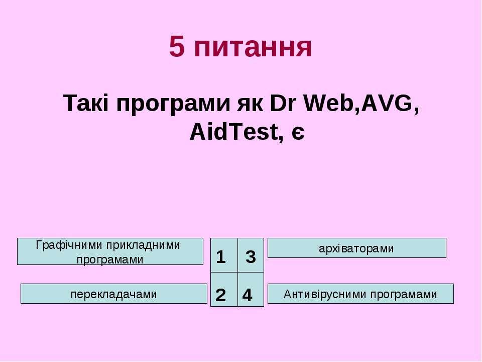 5 питання Такі програми як Dr Web,AVG, AidTest, є Графічними прикладними прог...