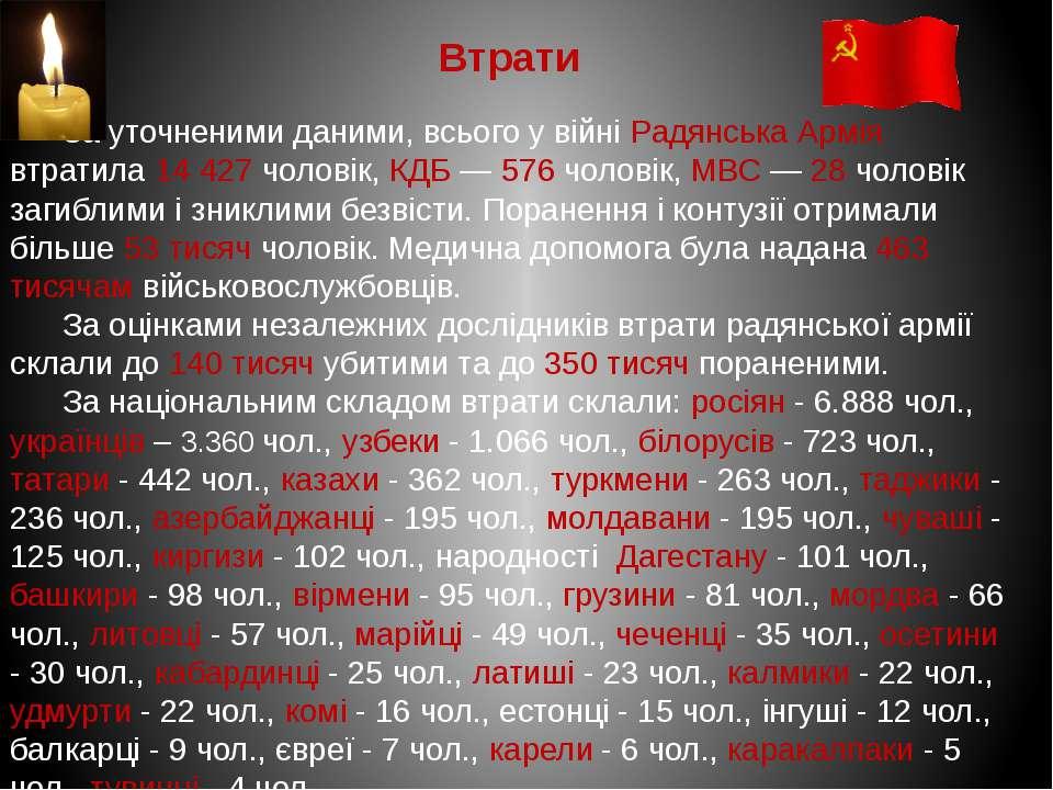 Втрати За уточненими даними, всього у війні Радянська Армія втратила 14 427 ч...