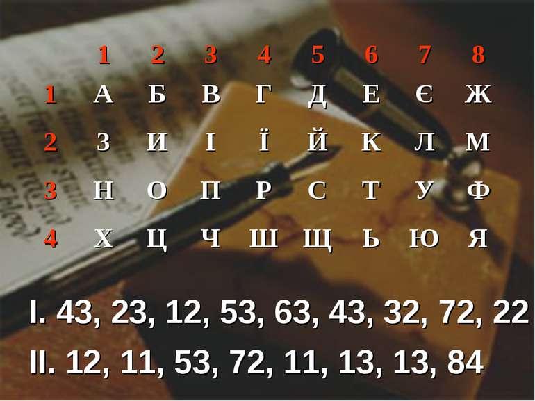 I. 43, 23, 12, 53, 63, 43, 32, 72, 22 II. 12, 11, 53, 72, 11, 13, 13, 84 1 2 ...