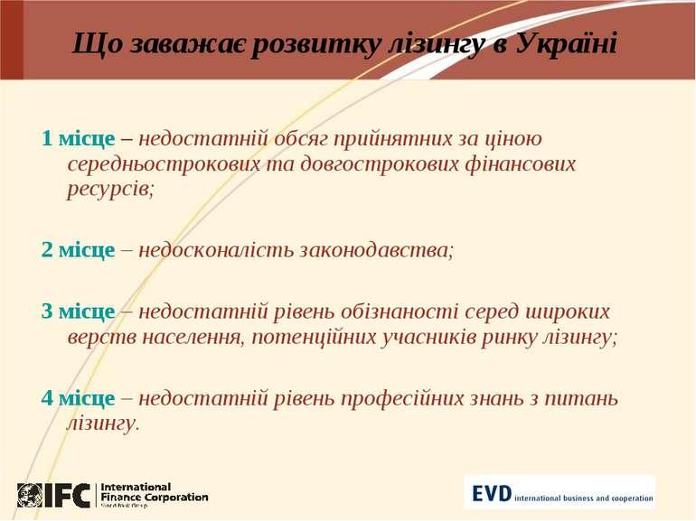 Що заважає розвитку лізингу в Україні 1 місце – недостатній обсяг прийнятних ...